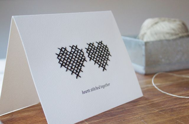Hearts Stitched Together Card