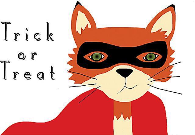 A fox with a mask on a Halloween card.