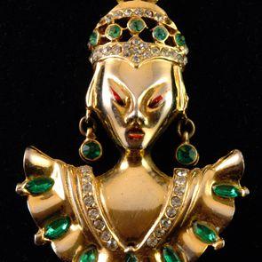 Circa: 1940s Reinad Asian Princess Brooch