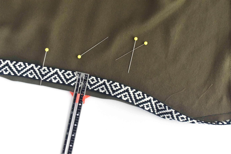 Measuring and pinning up a skirt hem