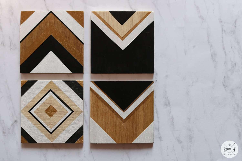 Four geometric wood coasters.
