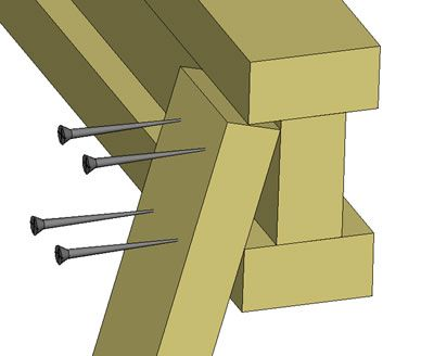 3D rendering of sawhorse leg with nails