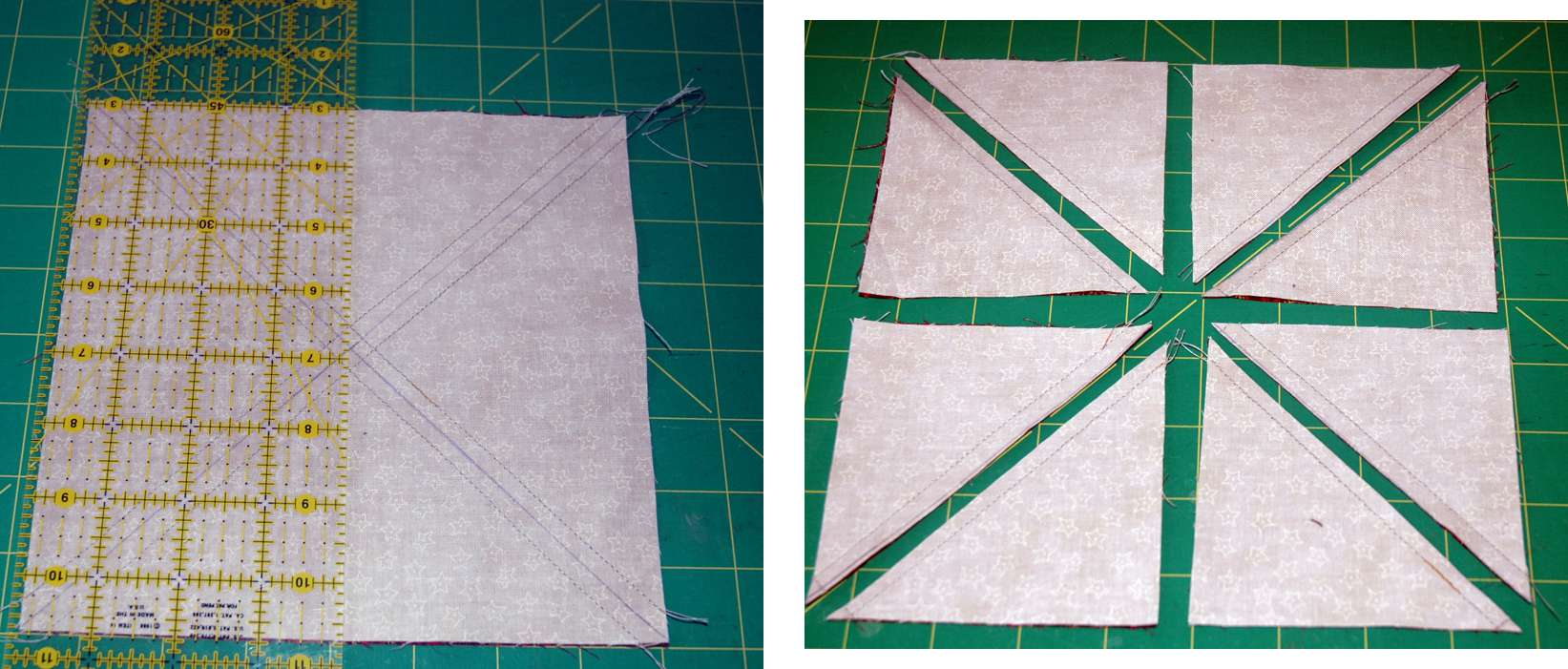 How to Cut Apart Quick Pieced HST Units
