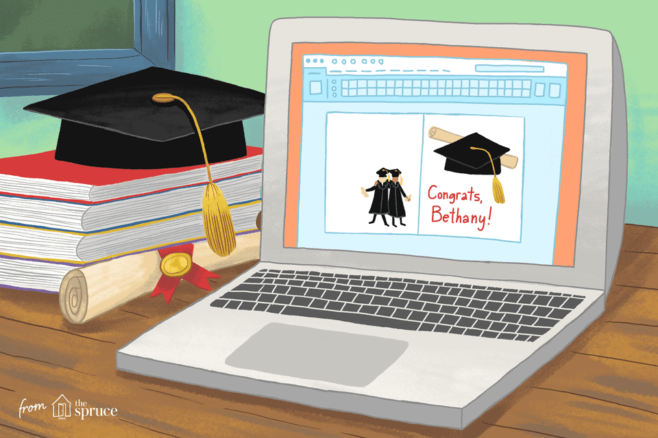 A laptop with graduation clip art on the screen next to books, a cap, and a diploma.