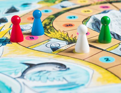 Close up of board games and pieces