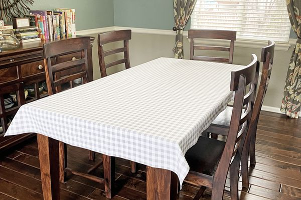 A custom tablecloth in a dining room