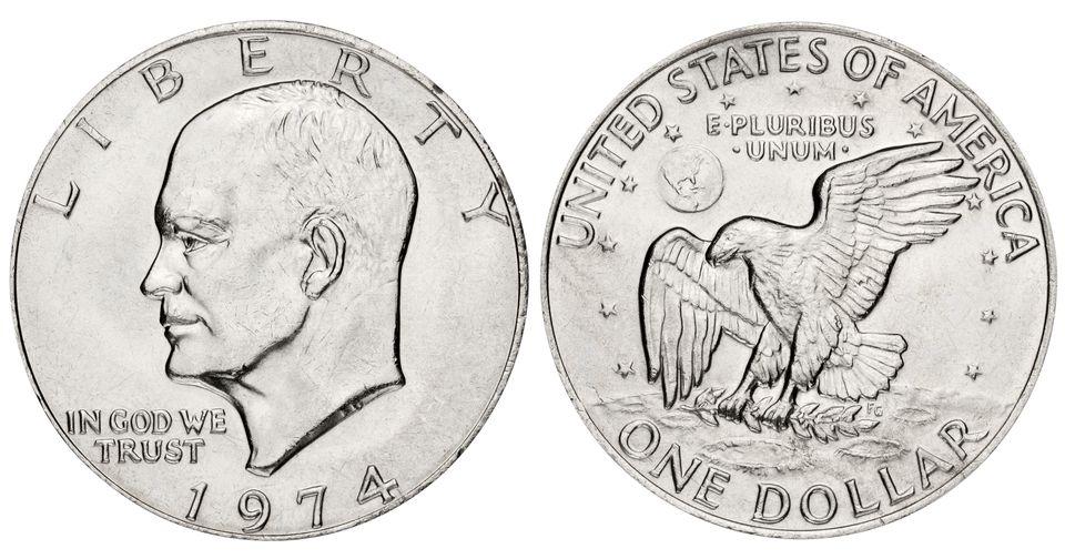 Eisenhower dollar on white background