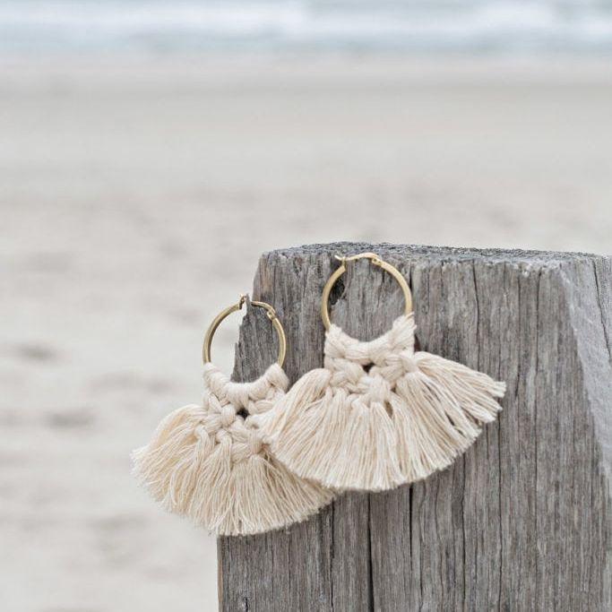 Macrame earrings on the beach