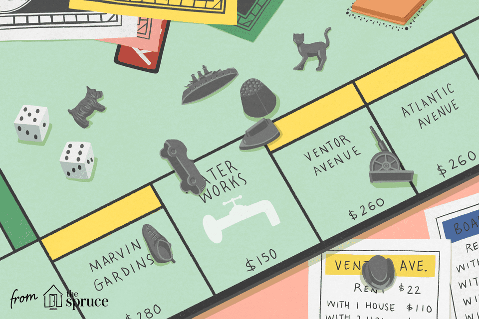 Illustration of Monopoly board and pieces