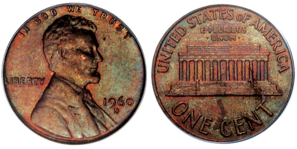 Lincoln Wheat Penny Graded Mint State-60 (MS60) Brown