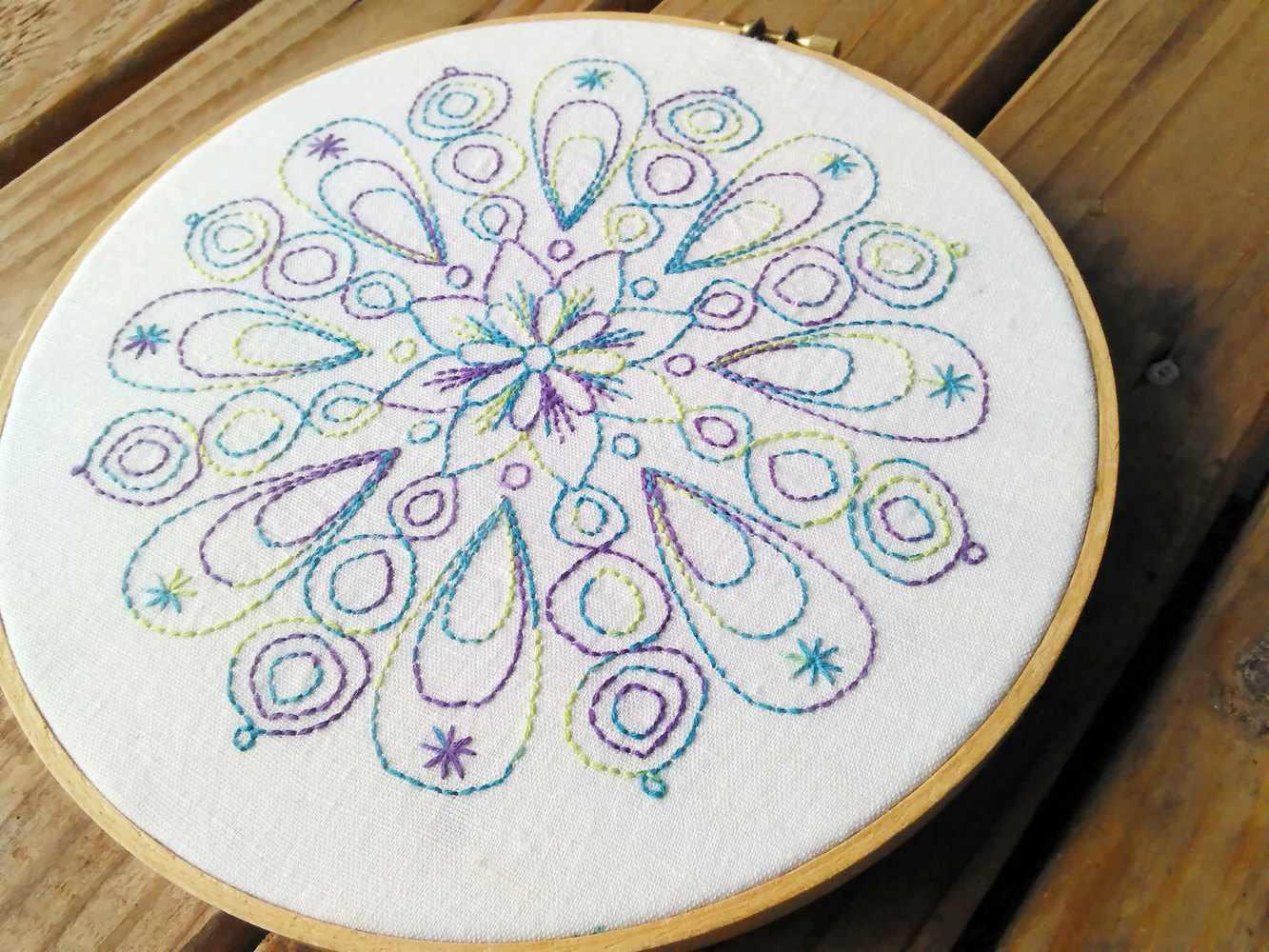 Celestial Harmony Mandala for Redwork Embroidery