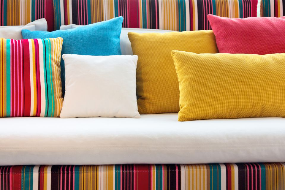 multi colored throw pillows