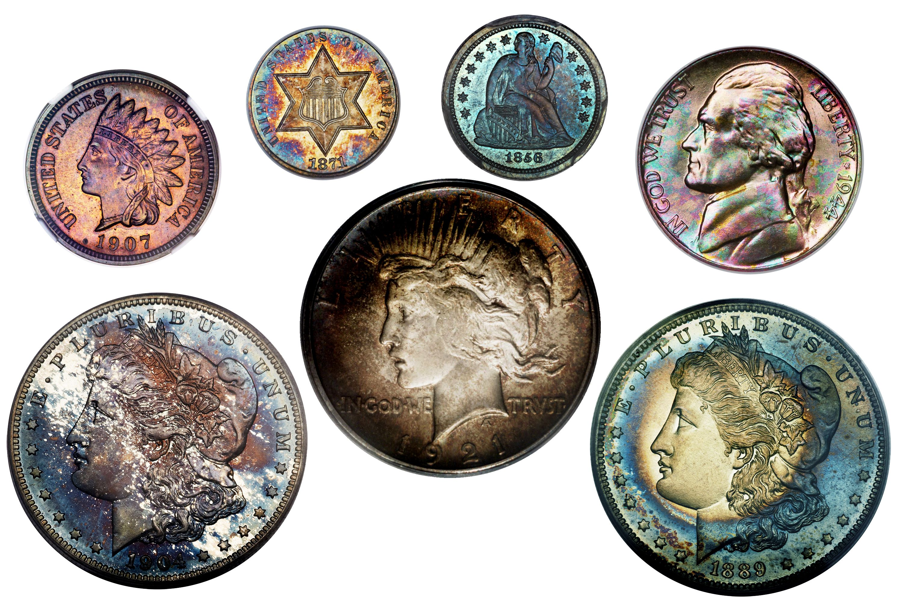 Naturally Toned Silver Copper and Nickel Coins