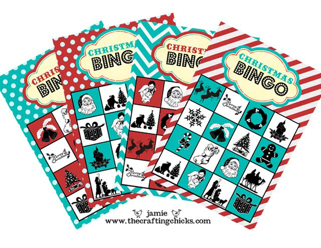a stack of christmas bingo cards