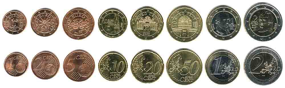 These coins are currently circulating in Austria as money.