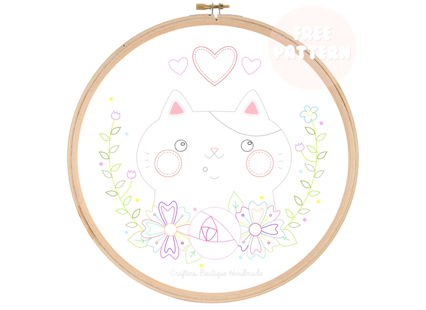 I Love My Cat Embroidery Pattern