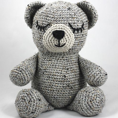 Teddy bear, toy crochet, with a scarf around his neck, brown and ... | 496x496