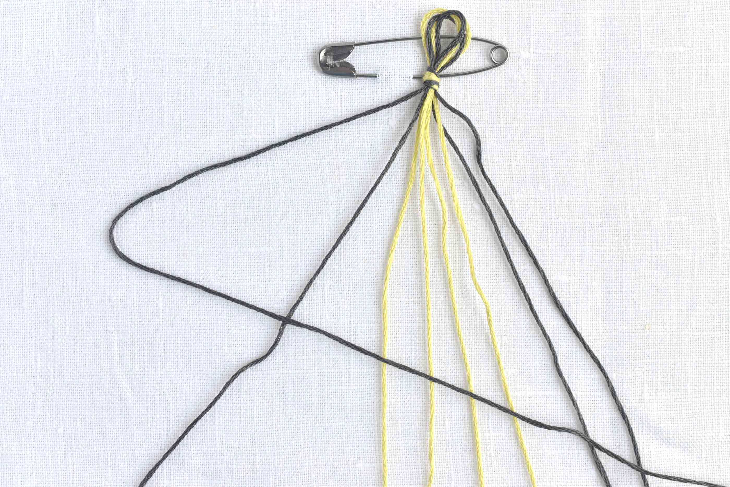 Make a 4 to start a forward knot