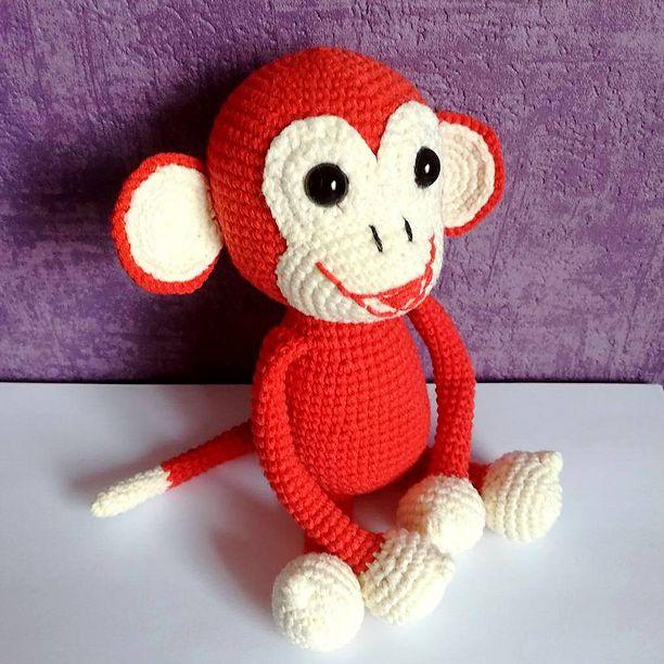 Red Crochet Monkey