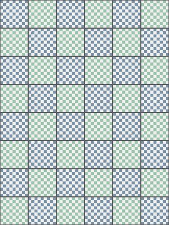 placement diagram for making a twin-sized child's blanket with a gingham  check pattern
