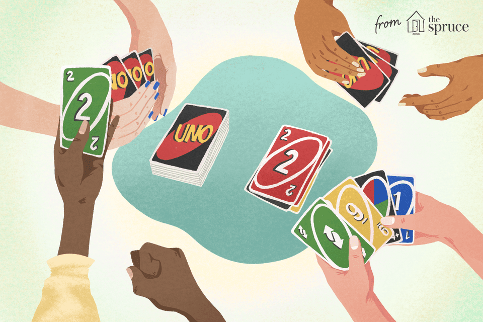 Hands playing uno illustration