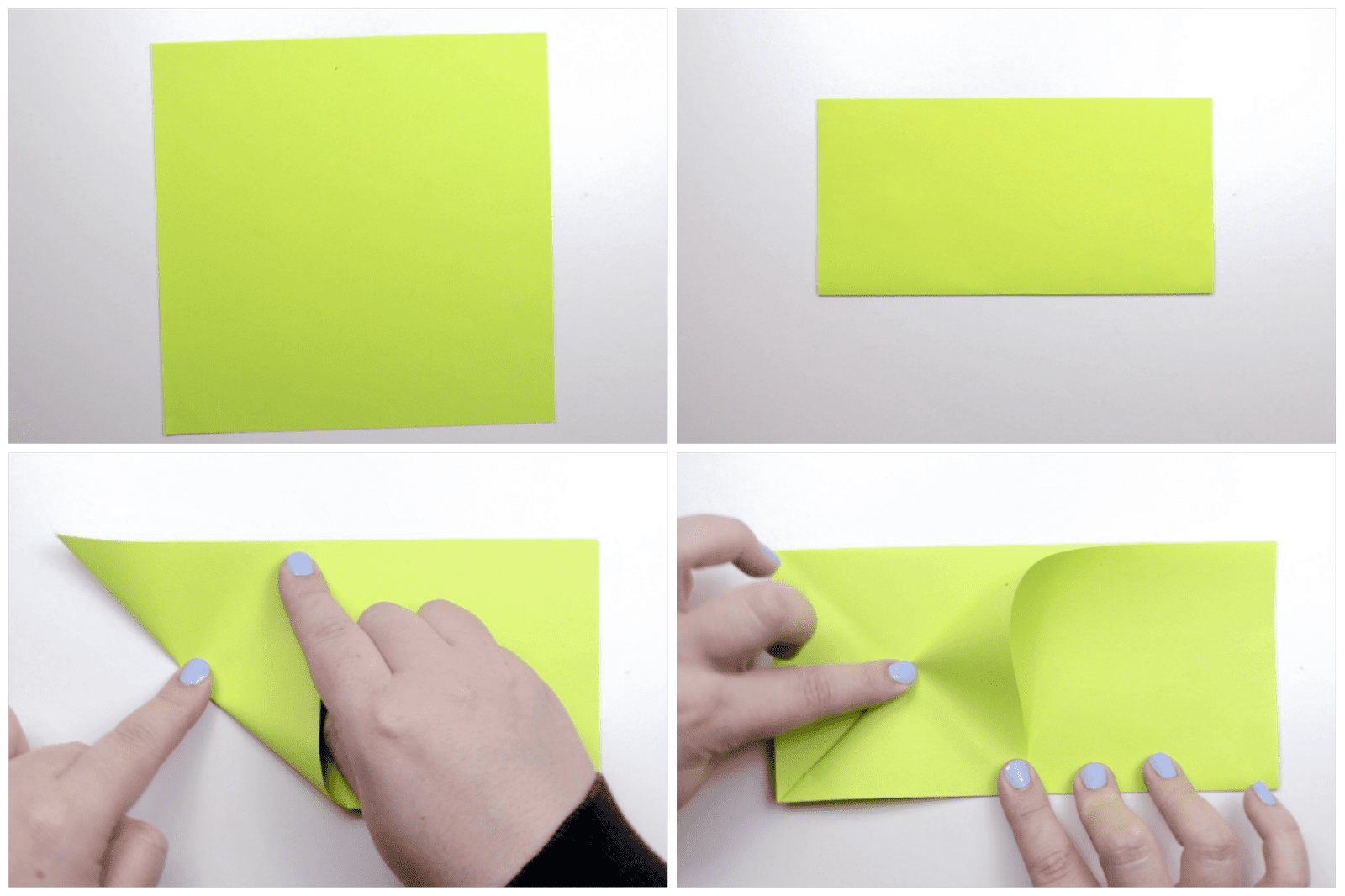 Sheet of yellow paper folded into a rectangle.
