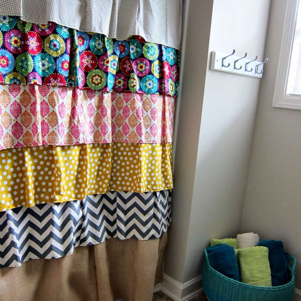 DIY ruffled mix and match fabric shower curtain