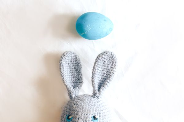 Knit blue rabbit toy