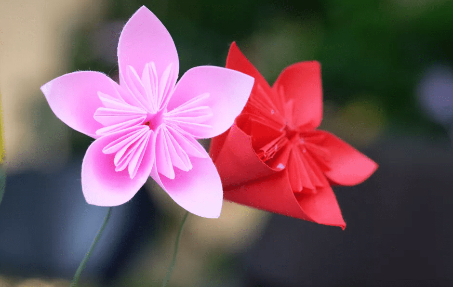 cherry blossom flowers made from colorful paper