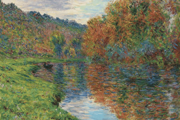 An impressionist painting of a lakeside created by Monet.