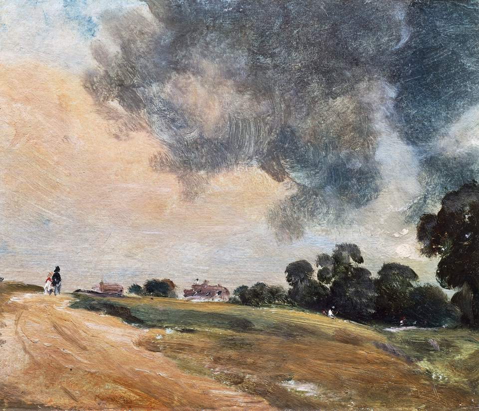 Closeup of a landscape painting