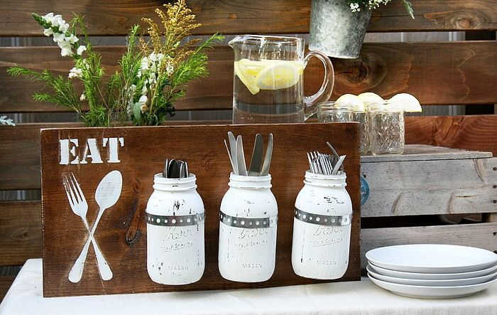utensil holders made of mason jars