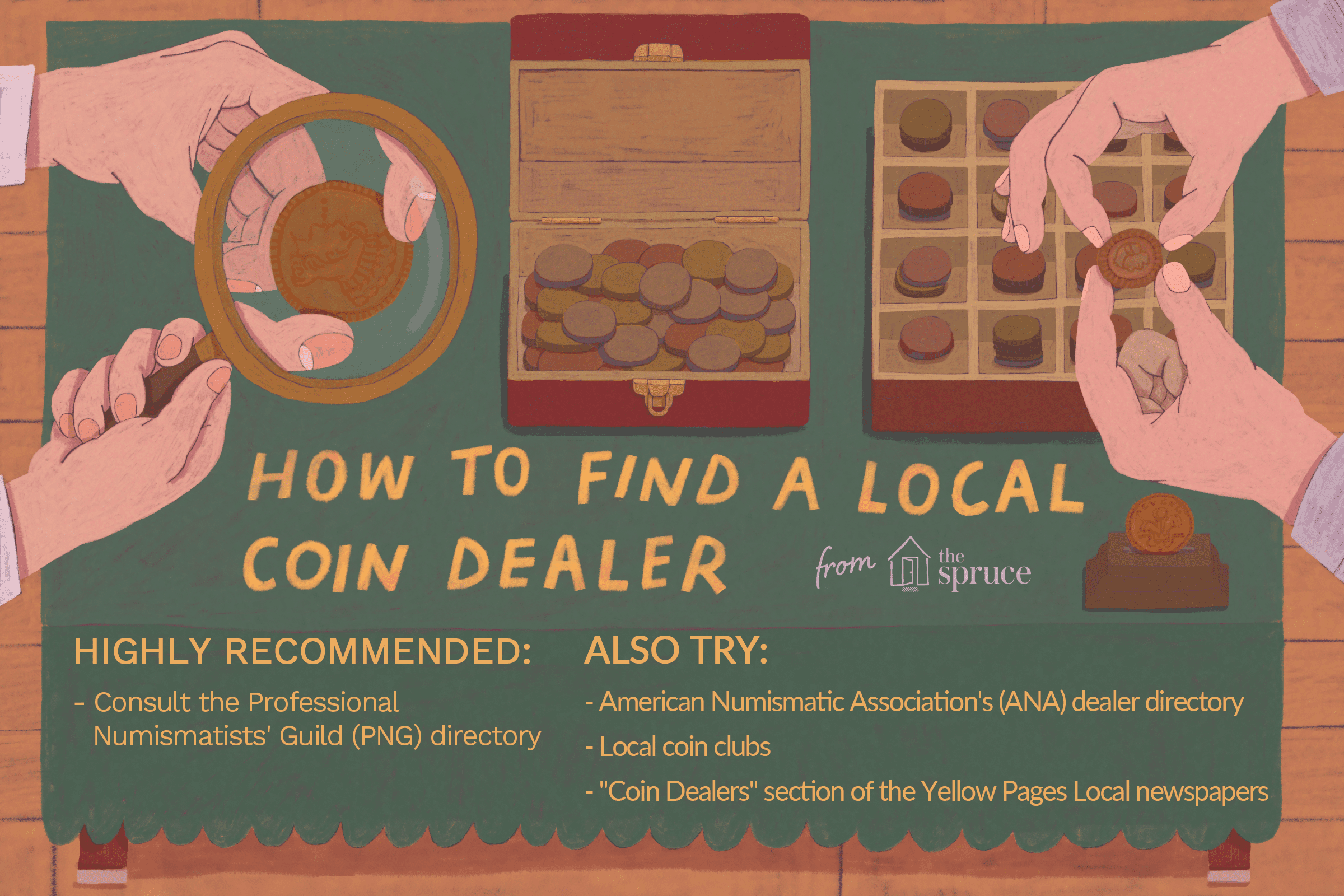 Illustration of hands inspecting coins