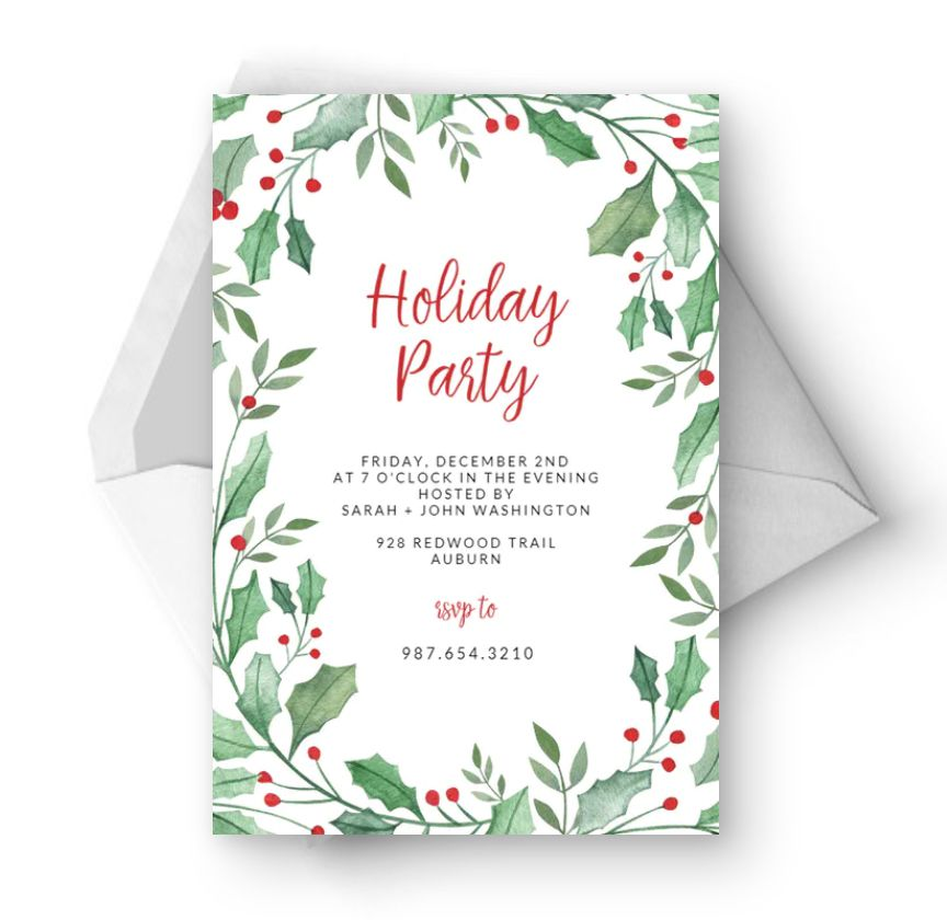 A holiday invitation with green and red holly