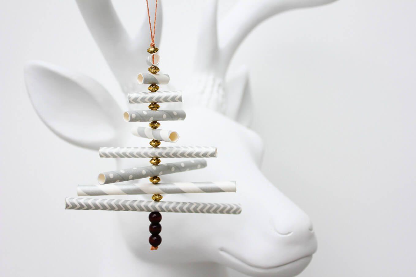 Paper Straw DIY Christmas Ornaments