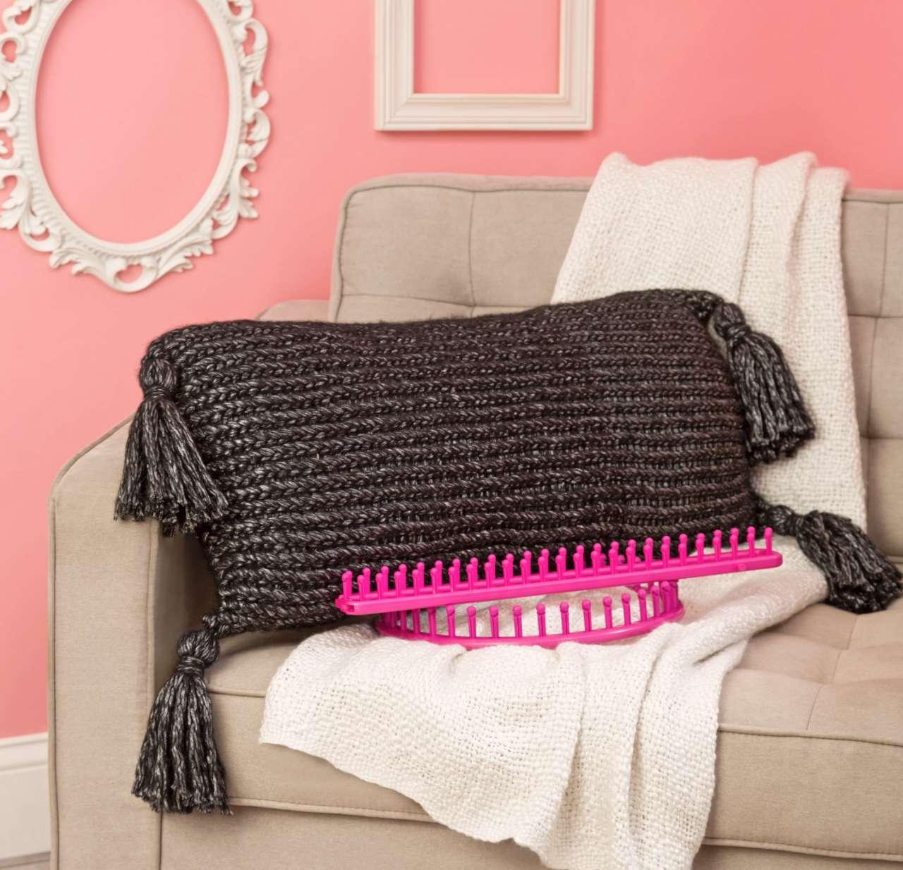 Loom Knit Tasseled Pillow Pattern