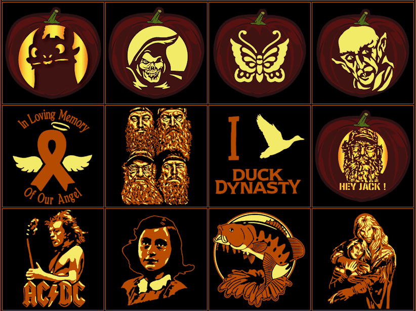 Picture of several pumpkin carving patterns