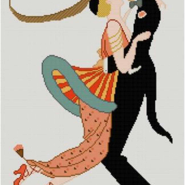 Dancing couple cross stitch pattern