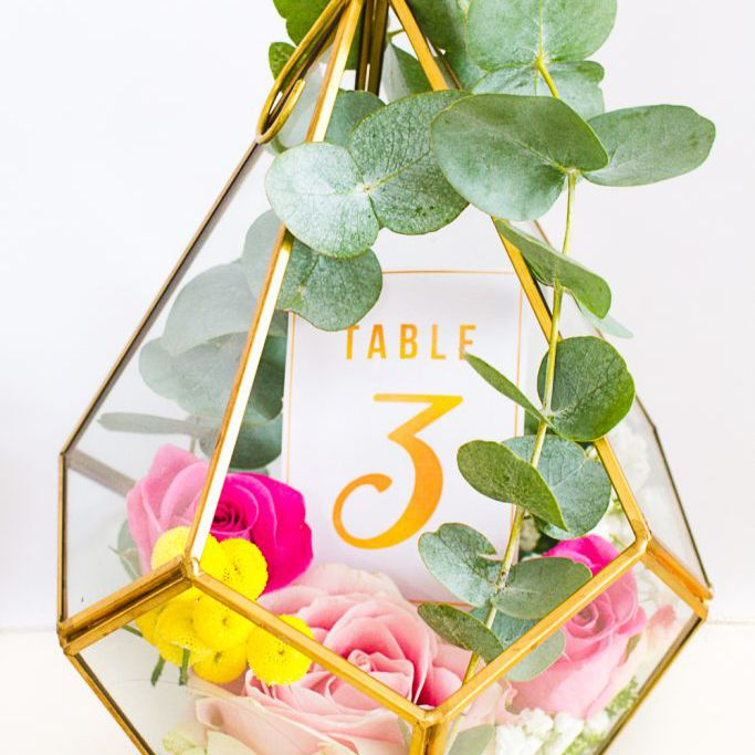 wedding table number terrarium