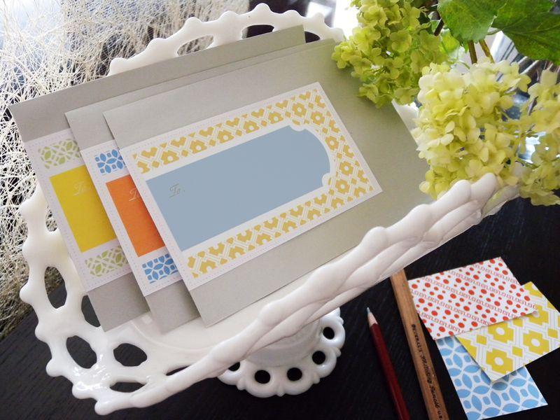 envelopes with address labels in a basket