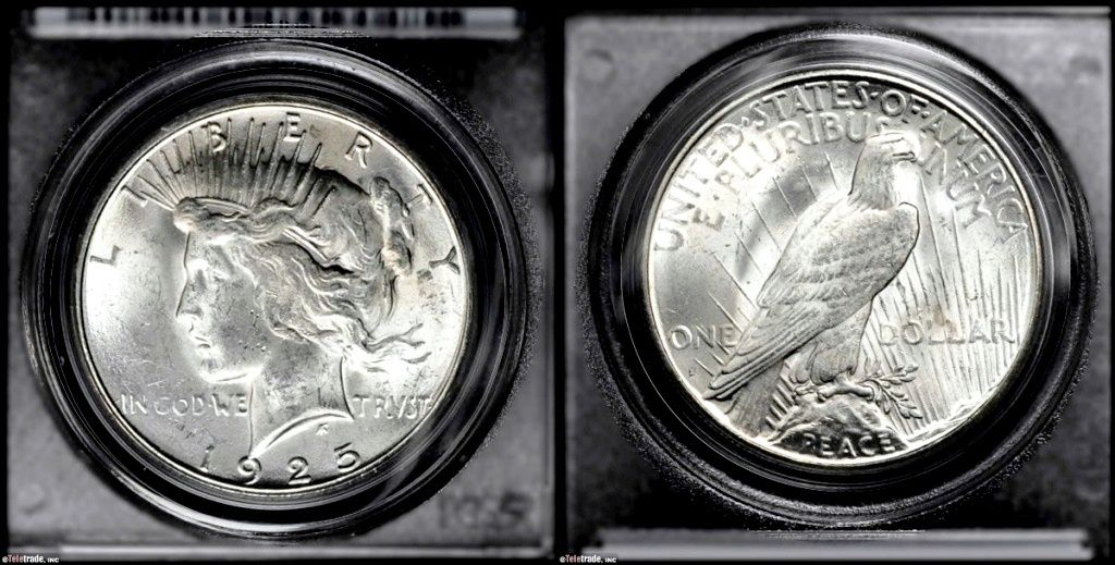 Example of a coin graded Mint State-63 (MS63)