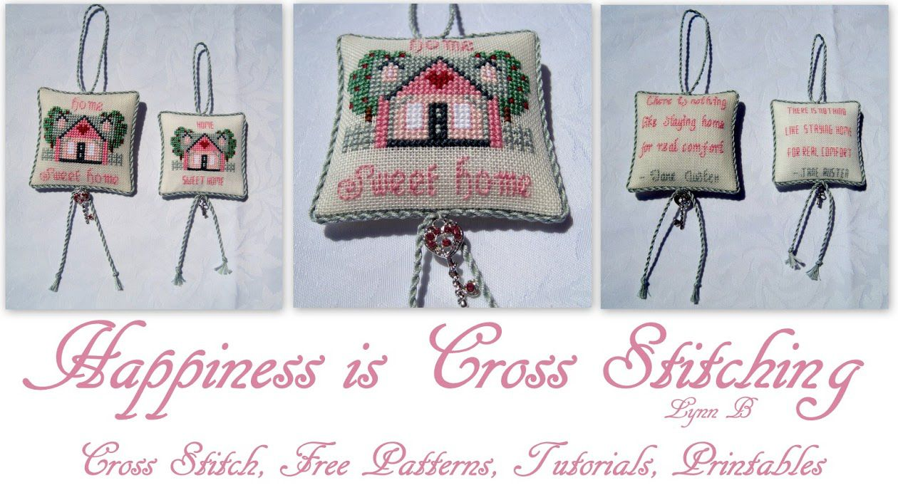 Banner for Happiness Is home pillow.Cross Stitching with examples of a stitched