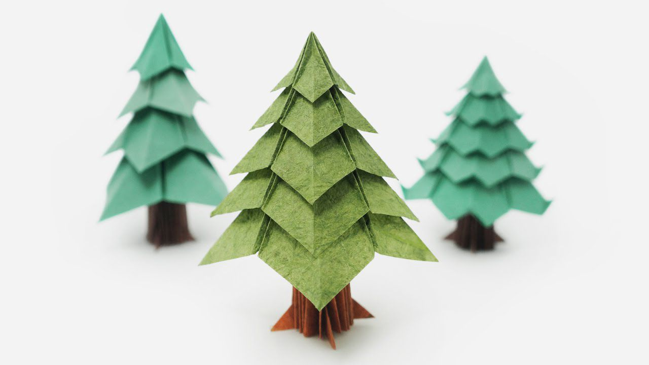 Three origami Christmas trees.