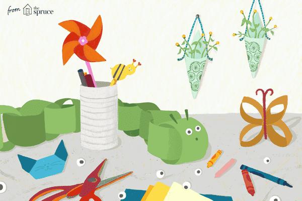 Illustration of little kids' crafts