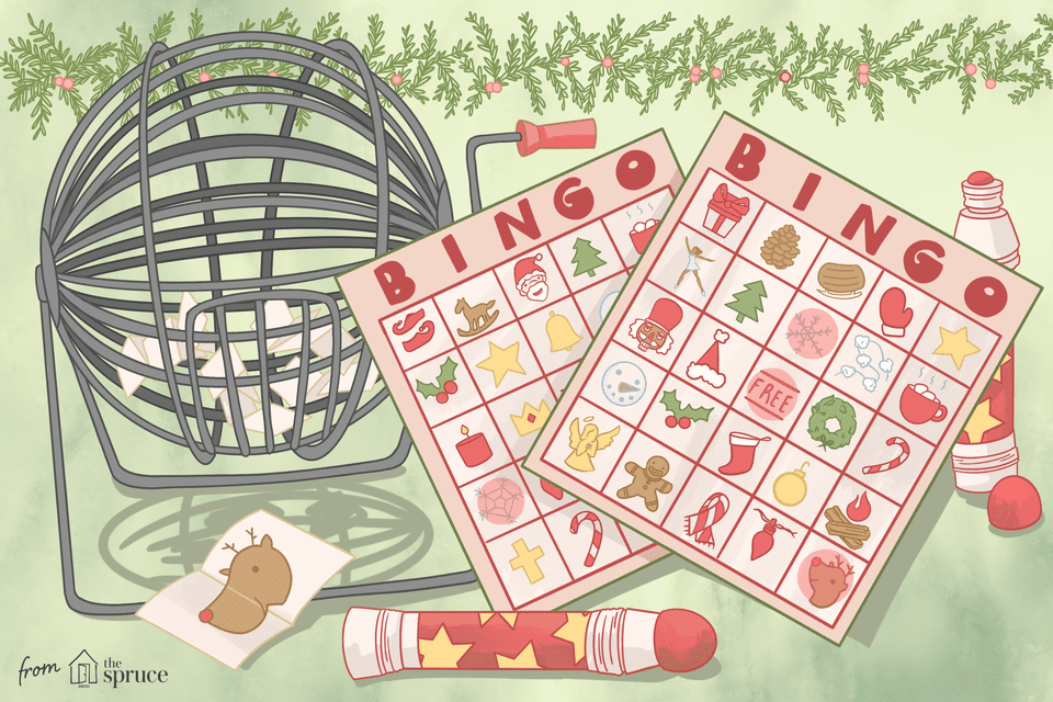 Illustration of Christmas bingo cards next to a bingo cage.