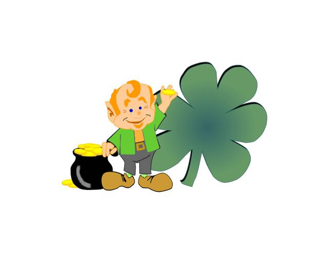 A leprechaun with a pot of gold and a giant shamrock