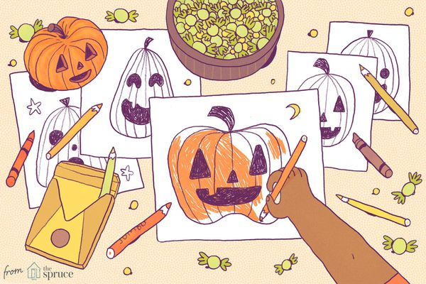 An illustration of a child's hand coloring pumpkin coloring pages