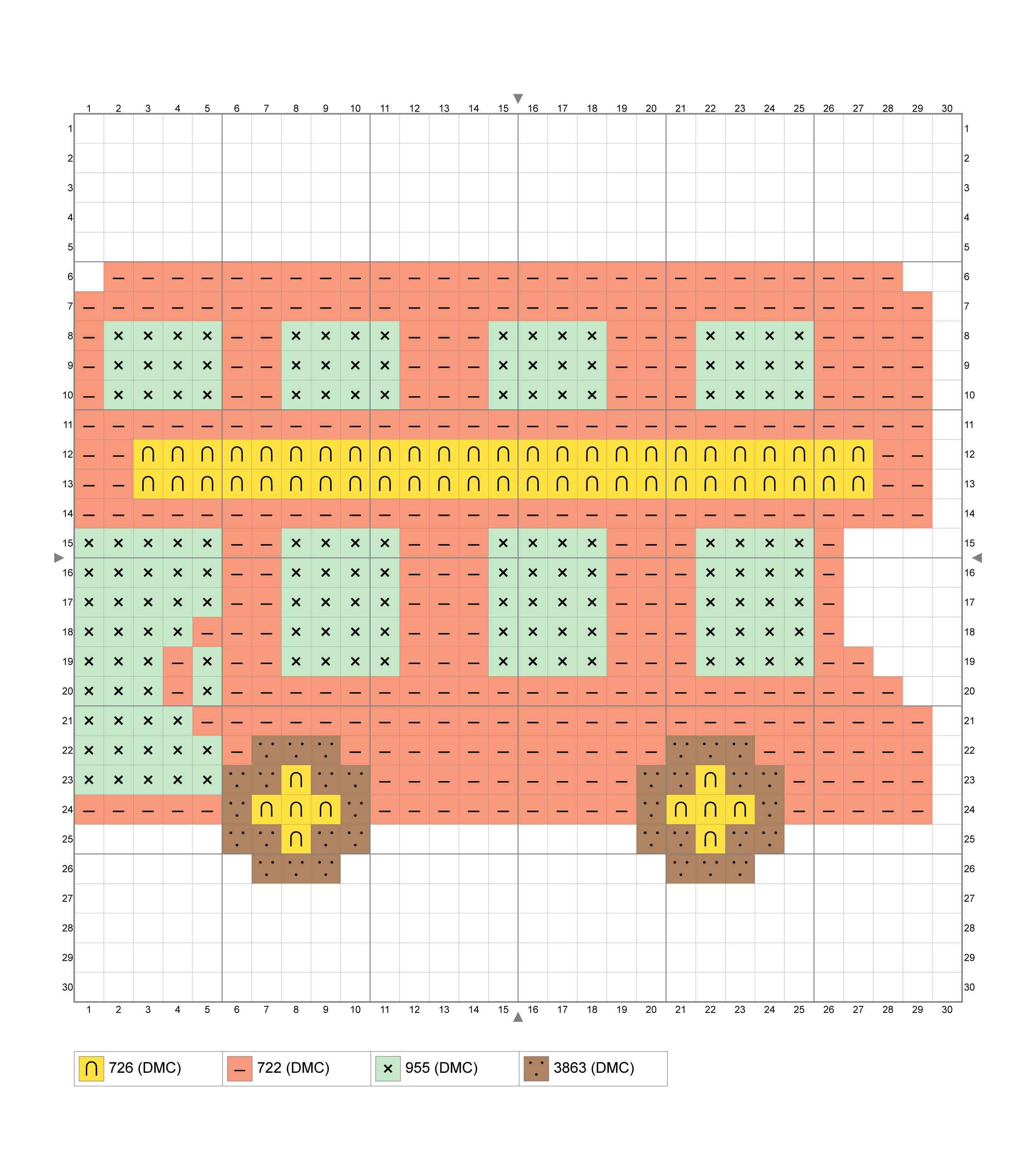 Easy Double-Decker Bus Cross Stitch Chart