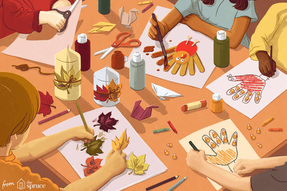 Illustration of kids coloring Thanksgiving crafts