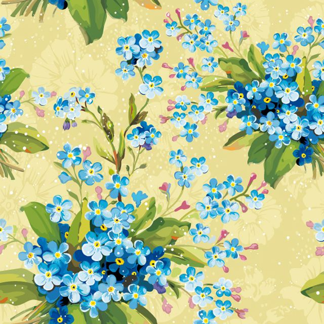 Blue Flowers on a Yellow Background